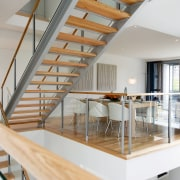 view of the terraced stairway and living area, apartment, architecture, daylighting, handrail, house, interior design, loft, real estate, stairs, gray, white