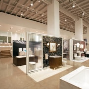 view of the new Kohler Chicago store showcasing ceiling, exhibition, interior design, brown, white
