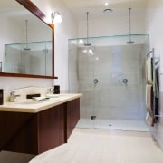 A view of a bathroom, tiled floor and bathroom, interior design, room, sink, gray, brown