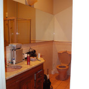 A view of the bathroom before it was bathroom, cabinetry, ceiling, countertop, floor, flooring, home, house, interior design, kitchen, room, brown