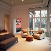 A view of the master bedroom. - A ceiling, estate, floor, home, interior design, living room, real estate, room, wall, window, brown