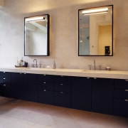 A view of the bathroom, tiled floor and bathroom, bathroom accessory, bathroom cabinet, cabinetry, countertop, interior design, room, sink