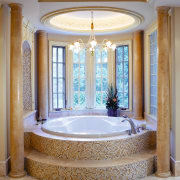 A view of a kitchen and bathroom by architecture, bathroom, bathtub, ceiling, column, daylighting, estate, floor, flooring, home, interior design, real estate, room, structure, wall, window, gray, brown