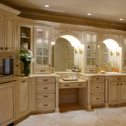 A view of a kitchen and bathroom by cabinetry, countertop, cuisine classique, furniture, interior design, kitchen, room, brown