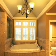 A view of a bathroom renovation by Buchead ceiling, daylighting, estate, home, interior design, light fixture, lighting, lobby, real estate, room, wall, window, orange, brown