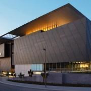 A view of the Milenium Arts Project. - architecture, brutalist architecture, building, commercial building, corporate headquarters, facade, headquarters, sky, structure, black