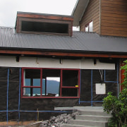 A view of some aluminium joinery from AluRestore. architecture, building, facade, home, house, roof, siding, window, wood, black, gray