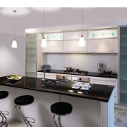 A view of a kitchen by Thermotek Kitchens. countertop, interior design, kitchen, product design, gray