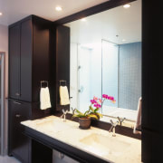 View of the bathroom featuring carrara marble countertop, bathroom, ceiling, countertop, interior design, room, sink, black, white