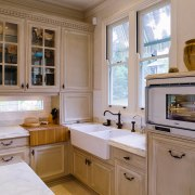 A view of the kitchen and dining areas, cabinetry, countertop, cuisine classique, home, home appliance, interior design, kitchen, room, window, brown, gray