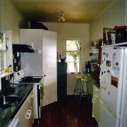 A view of the kitchen area before it countertop, home, kitchen, property, room, gray