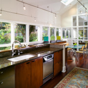 A view of this remodelled kitchen featuring cherry countertop, interior design, kitchen, real estate, window, white, brown