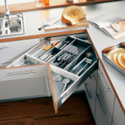 A view of some kitchen cabinetry by Blum furniture, product design, gray, white