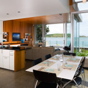 A view of the kitchen and dining area architecture, countertop, interior design, kitchen, real estate, gray