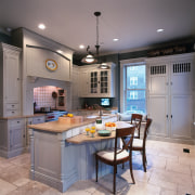 A view of this kitchen that features a cabinetry, countertop, cuisine classique, interior design, kitchen, room, gray
