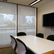 A view of some blinds from KWA Blinds. conference hall, interior design, office, real estate, window, gray