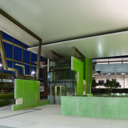A view of some fabrication work done by architecture, green, gray, green