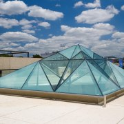 A view of some fabrication work done by architecture, daylighting, dome, structure, swimming pool, gray