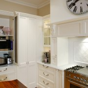 A view of a kitchen by Provincial Kitchens. cabinetry, countertop, cuisine classique, floor, furniture, home, home appliance, interior design, kitchen, room, gray