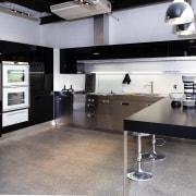 A view of some kitchen appliances from BSH countertop, floor, flooring, interior design, kitchen, gray, black
