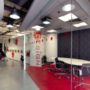 A view of the new MMoser-designed Hong Kong ceiling, floor, flooring, interior design, structure, gray