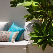 view of  the outdoor couch nestled against green, houseplant, interior design, leaf, plant, brown, gray