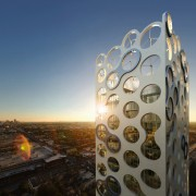 A view of this new innovative design of reflection, sea, sky, sunlight, water