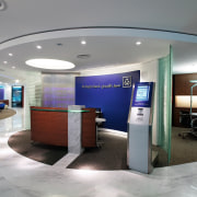 A view of the Al Rajhi Bank in ceiling, interior design, lobby, office, gray