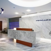 A view of the Al Rajhi Bank in ceiling, floor, flooring, interior design, lobby, product design, gray, white