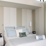 A view of some interior paints by Resene. architecture, bed frame, bedroom, ceiling, home, interior design, real estate, room, suite, wall, window, window covering, gray, white