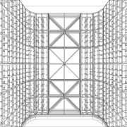 A view of a wine cellar by Baywick's angle, architecture, area, black and white, design, drawing, line, line art, monochrome, pattern, product design, structure, symmetry, white