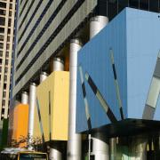 A view of the Brisbane square buildings colourful architecture, building, car, city, condominium, corporate headquarters, daytime, downtown, facade, infrastructure, landmark, metropolis, metropolitan area, skyscraper, tower block, urban area, black