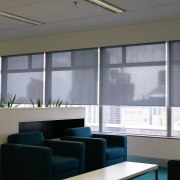 A view of the metalised black blinds installed conference hall, daylighting, glass, interior design, office, shade, window, window blind, window covering, window treatment, gray