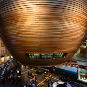 A view of the Firjian kauri clad bowl architecture, building, ceiling, metropolitan area, performing arts center, reflection, tourist attraction, brown, black