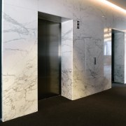A view of the lobby and entrance to architecture, ceiling, floor, glass, interior design, wall, black, white
