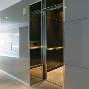 A view of the lobby and entrance to door, furniture, product design, wardrobe, gray