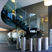 A view of the spiral staircase featuring  architecture, interior design, gray, black