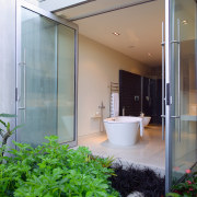 The master ensuite continues the idea of openness architecture, daylighting, glass, home, house, interior design, real estate, window, gray