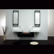 A view of a bthroom vanity by Tonusa. bathroom, bathroom accessory, product design, black, gray