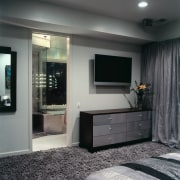 A view of the entrance way to the furniture, interior design, room, gray, black