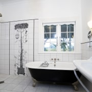 The Recor Dual bath with nickel plated feet bathroom, home, interior design, room, tile, window, gray, white