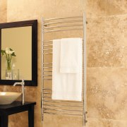 Jeeves towel warmer switches are not attached to bathroom, floor, flooring, interior design, plumbing fixture, tile, wall, orange