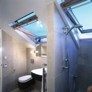 Velux windows add a sense of height in architecture, bathroom, ceiling, daylighting, interior design, room, gray