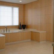 A view of a bathroo, tiled floor and bathroom, cabinetry, floor, flooring, interior design, kitchen, room, sink, tile, brown