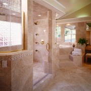 Extensive tiling characterizes this new bathroom, by NKBA bathroom, ceiling, estate, floor, flooring, home, interior design, lobby, property, real estate, room, tile, wall, wood flooring, brown, gray