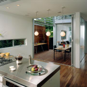 A view of the kitchen featuring stainless steel countertop, interior design, kitchen, gray