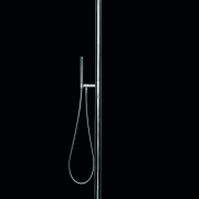 A view of a shower fitting by OMBG. light fixture, lighting, microphone stand, product design, black