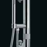 A view of a shower fitting by OMBG. hardware, plumbing, plumbing fixture, product, product design, tap, black
