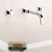A view of some tapeware by Porta Faucet. angle, lighting, plumbing fixture, product, product design, tap, white