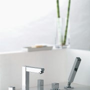 A view of some tapeware by Porta Faucet. furniture, plumbing fixture, product, product design, table, tap, white